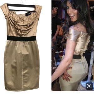 D&G Vintage Off Shoulder Gold Dress